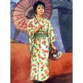 'Woman in Kimono with Parasol' Modern Canvas Print Wall Art