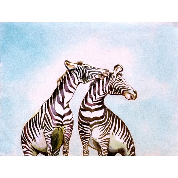 'Pair of Zebras Standing Outdoors' Modern Canvas Print Wall Art