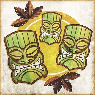 'Polynesian Tiki Masks' Modern Canvas Print Wall Art