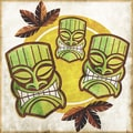 'Polynesian Tiki Masks' Modern Canvas Print Wall Art