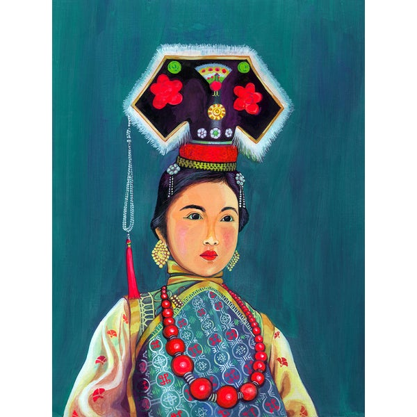 'Portrait of Woman in Cultural Attire' Modern Canvas Print Wall Art