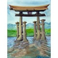 'Pagoda in River' Modern Canvas Print Wall Art