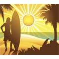 'Illustration of Silhouette of Surfer on Beach' Modern Canvas Print Wall Art