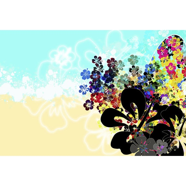 'Illustration of Colorful Flowers Montage' Modern Canvas Print Wall Art