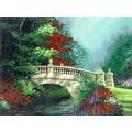 'Illustration of Bridge with Colorful Flowers' Modern Canvas Print Wall Art