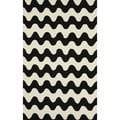 nuLOOM Handmade Wool Modern Waves Black Rug (5' x 8')