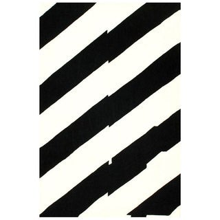 nuLOOM Handmade Modern Horizon Black/ White Rug (3' 6 x 5' 6)
