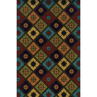 Geometric Indoor/ Outdoor Brown/ Multi Polypropylene Area Rug (3'7 x 5'6)