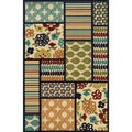 Indoor/ Outdoor Geometric-pattern Ivory/ Multicolored Polypropylene Area Rug (3'7 x 5'6)
