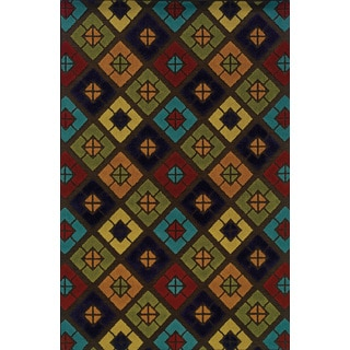 Indoor/ Outdoor Brown/ Multi Polypropylene Stain Resistant Area Rug (5'3 x 7'6)