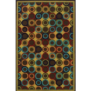 Indoor/ Outdoor Brown/ Multi Polypropylene Floral Area Rug (6'7 x 9'6)