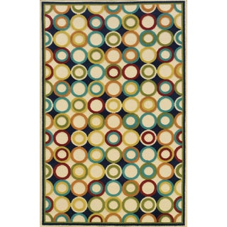 Indoor/ Outdoor Geometric Ivory/ Multi Polypropylene Area Rug (6'7 x 9'6)