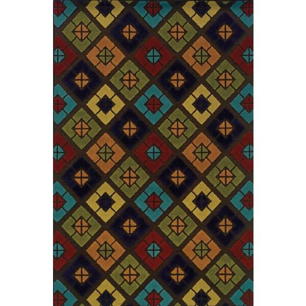 Indoor/Outdoor Brown/ Multi Area Rug (6'7 x 9'6)