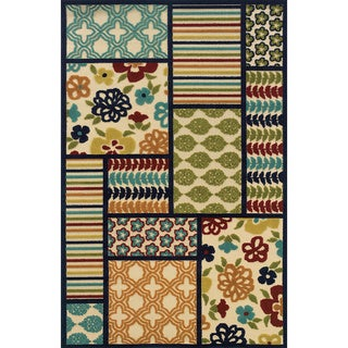 Indoor/Outdoor Ivory/ Multi Polypropylene Area Rug (6'7 x 9'6)