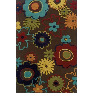 Indoor/ Outdoor Brown/ Multi Polypropylene Area Rug with Hi/ Lo Construction (7'10 x 10'10)