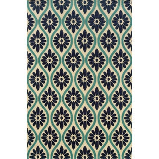 Indoor/ Outdoor Floral Ivory/ Blue Polypropylene Area Rug (7'10 x 10'10)