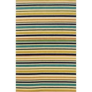 Indoor/ Outdoor Geometric Ivory/ Blue Polypropylene Area Rug (7'10 x 10'10)