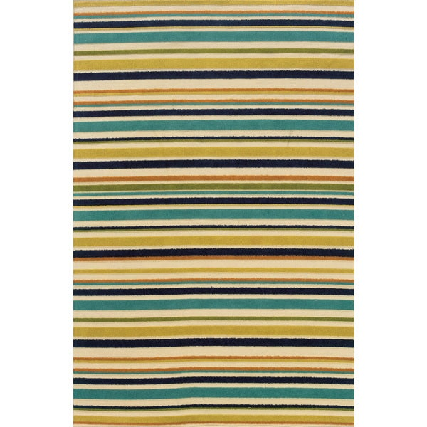 Indoor/ Outdoor Geometric Ivory/ Blue Area Rug (7'10 x 10'10)
