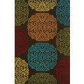 Indoor/ Outdoor Brown/ Multi Floral Polypropylene Area Rug (7'10 x 10'10)