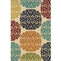 Indoor/ Outdoor Abstract-pattern Ivory/ Multi Polypropylene Area Rug (7'10'' x 10'10'')
