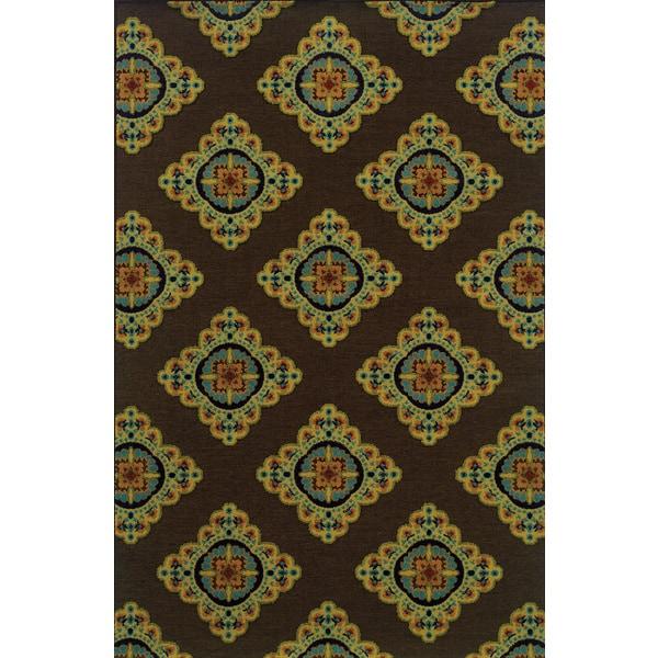 Indoor/ Outdoor Flat-weave Brown/ Multi Area Rug (7'10 x 10'10)