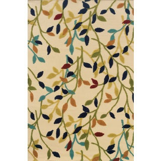 Indoor/ Outdoor Floral Ivory/ Multi Polypropylene Area Rug (7'10'' x 10'10'')
