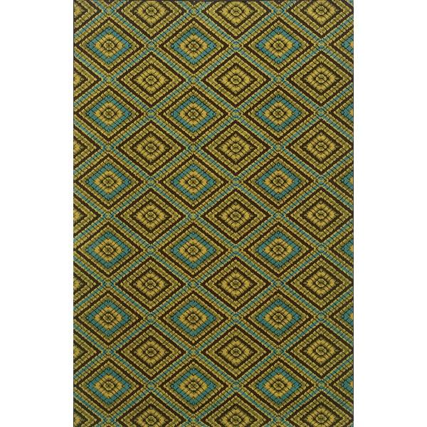 Indoor/Outdoor Brown/ Green Area Rug (7'10 x 10'10)