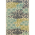 Ivory/ Blue Indoor/ Outdoor Floral Polypropylene Area Rug (8'6 x 13')
