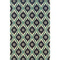 Indoor/Outdoor Ivory/ Blue Polypropylene Area Rug (8'6 x 13')