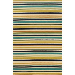 Ivory/ Blue Indoor/ Outdoor Striped Polypropylene Area Rug (8'6 x 13')