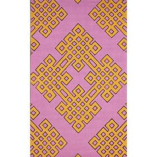 nuLOOM Handmade Modern Lattice Pink Rug (3' 6 x 5' 6)