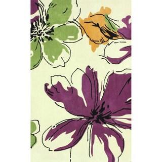 nuLOOM Handmade Modern Flowers Purple Rug (3'6 x 5'6)