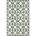 nuLOOM Hand-Hooked Circle Box Lattice Ivory Rug (5' x 8')