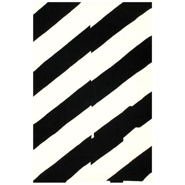 nuLOOM Handmade Modern Horizon Black/ White Rug (7' 6 x 9' 6)