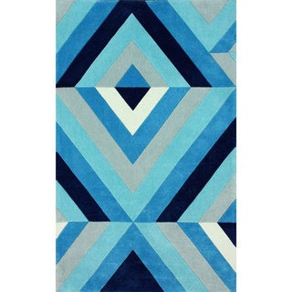 nuLOOM Handmade Modern 3D Blue Rug (7'6 x 9'6)