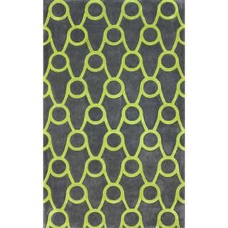 nuLOOM Handmade Modern Trellis Green Rug (7'6 x 9'6)