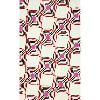 nuLOOM Handmade Wool Modern Flow Red Rug (3'6 x 5'6)