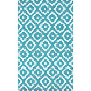 nuLOOM Handmade Wool Pixel Trellis Teal Rug (3'6 x 5'6)