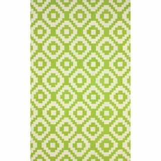 nuLOOM Handmade Wool Pixel Trellis Lime Rug (3'6 x 5'6)