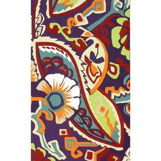 nuLOOM Handmade Wool Modern Floral Multi Rug (3'6 x 5'6)