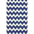nuLOOM Handmade Wool Modern Waves Blue Rug (3'6 x 5'6)
