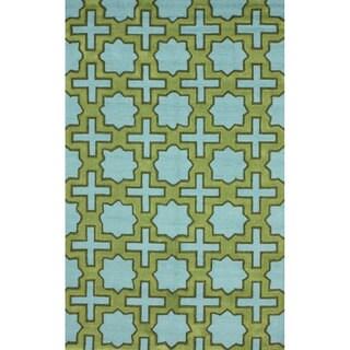 nuLOOM Handmade Indoor/ Outdoor Moroccan Star Trellis Blue Rug (3'6 x 5'6)