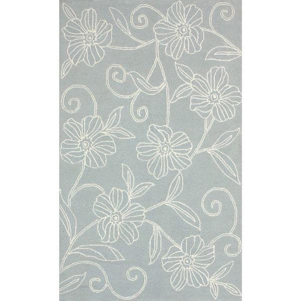 nuLOOM Handmade Solid Floral Grey Rug (3'6 x 5'6)