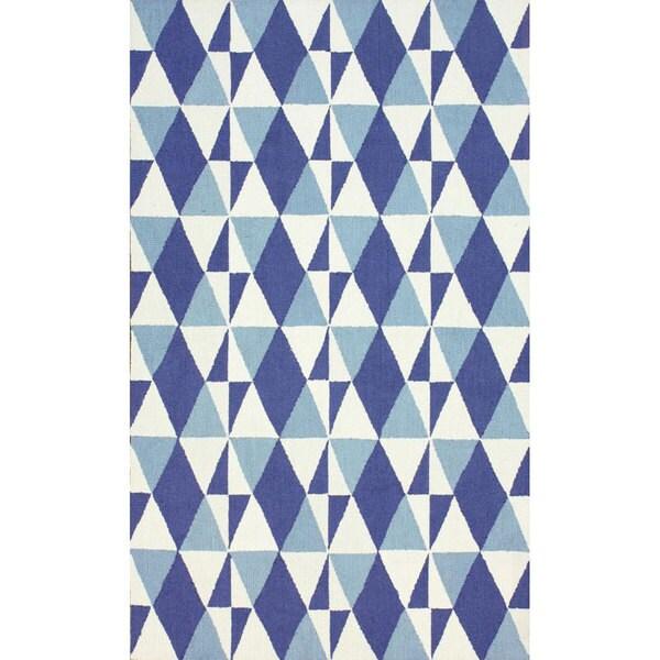 nuLOOM Handmade Wool Triangle Trellis Blue Rug (8'3 x 11')