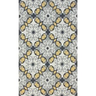 nuLOOM Handmade Wool Modern Floral Grey Rug (7'6 x 9'6)
