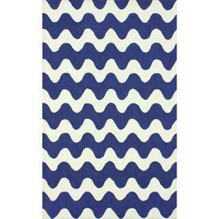 nuLOOM Handmade Wool Modern Waves Blue Rug (7'6 x 9'6)