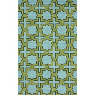 nuLOOM Handmade Indoor/ Outdoor Moroccan Star Trellis Blue Rug (7'6 x 9'6)