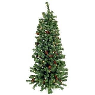 48-Inch Pre-Lit Wall Tree With Cones