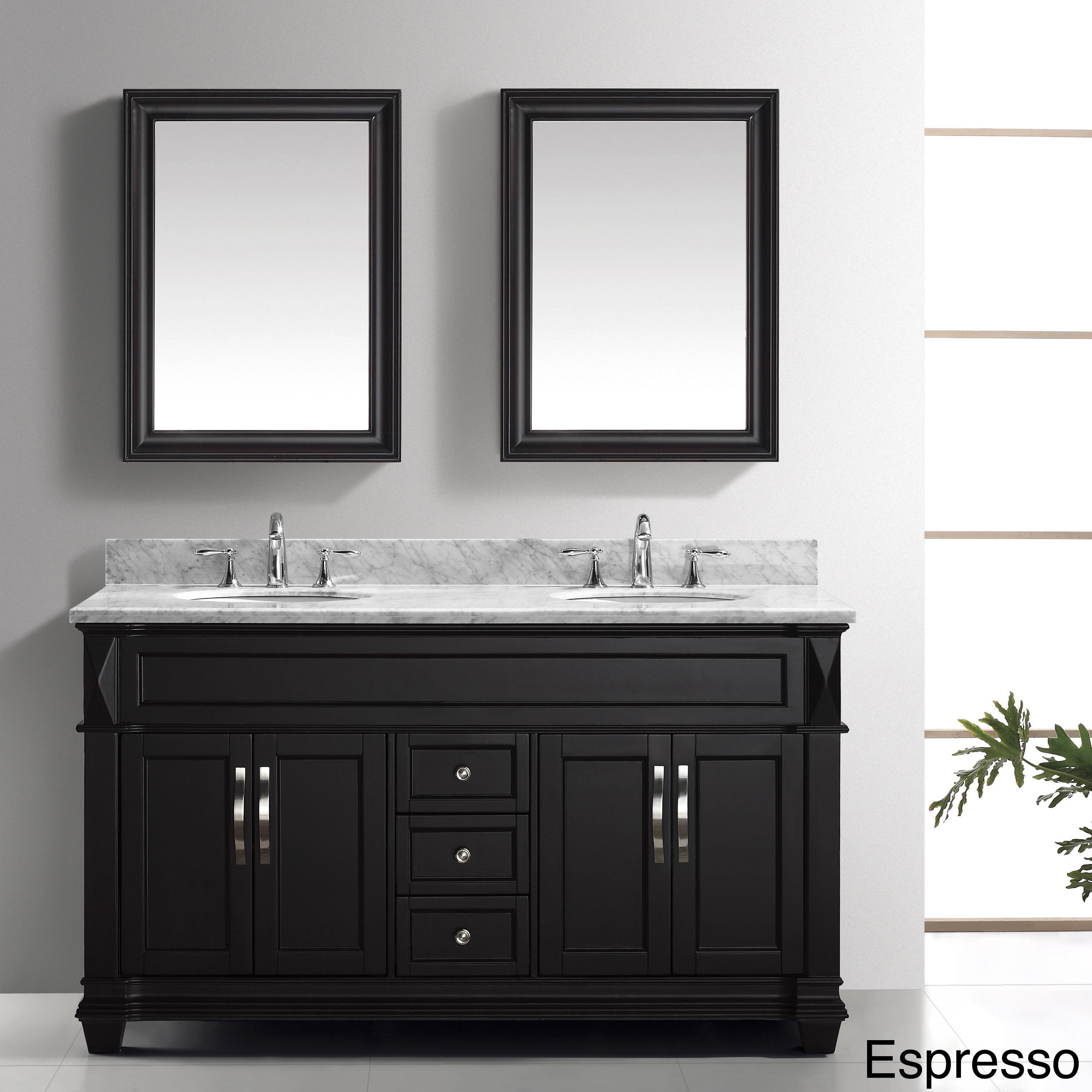 Virtu USA Victoria 60 Inch Double Sink Bathroom Vanity Set Overstock Shoppi