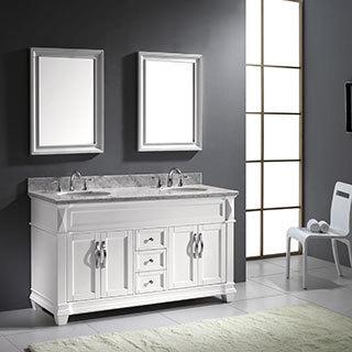 Virtu USA Victoria 60-Inch Double Sink Bathroom Vanity Set
